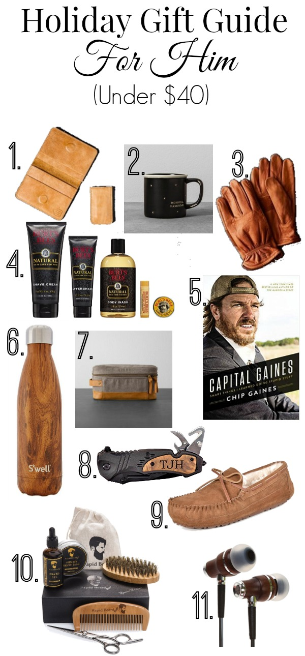 Whether you are shopping for your husband, dad, son, brother, grandfather, or great uncle Joe, I am sharing a fabulous gift guide for him all for under $40!