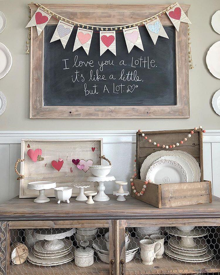 Using pinks, whites and golds in Valentine's Decor to create a farmhouse style. It only takes a few pieces to make a big statement.