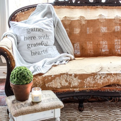 Farmhouse Stool Makeover with Chalk Paint and Burlap Sack