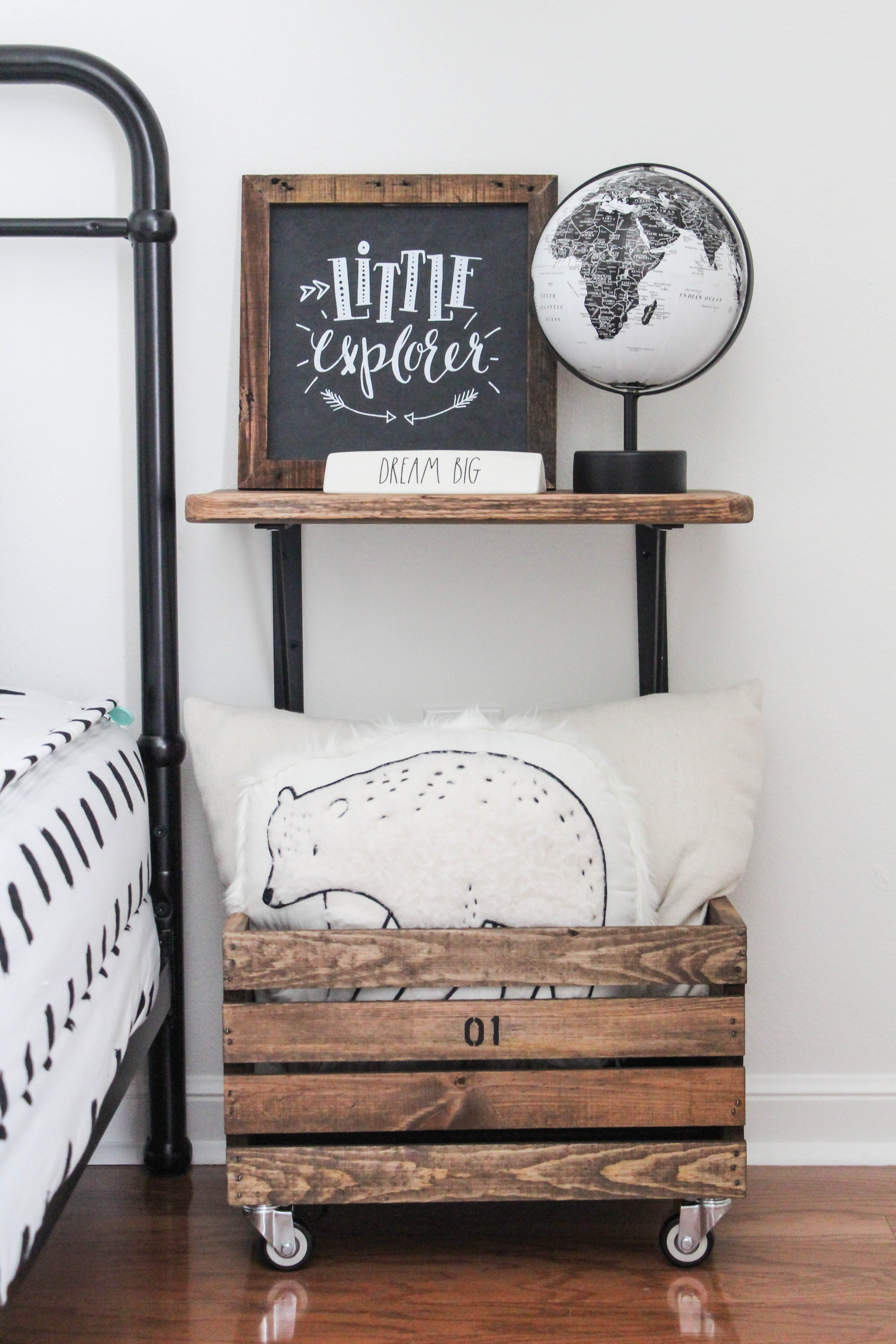 You won't believe how easy & cheap this is! See how I gave a plain wood crate a diy makeover to turn it into vintage-inspired storage in my son's room!