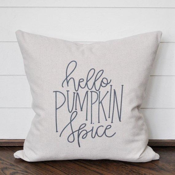 hello pumpkin spice pillow