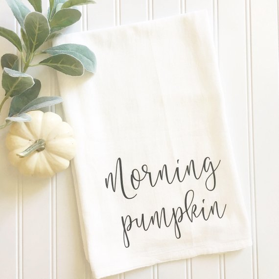 Morning Pumpkin tea towel