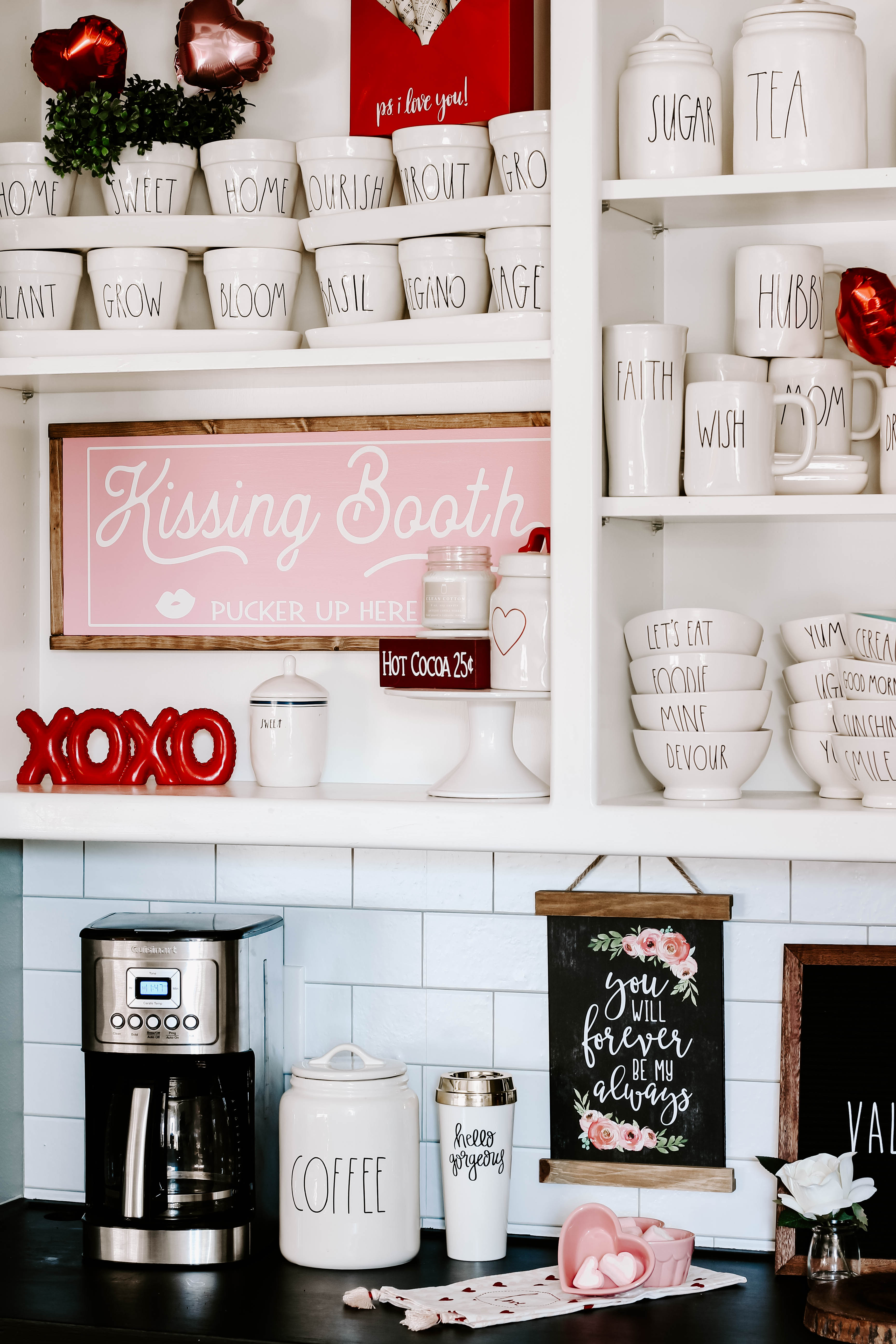 Learn how to create a farmhouse style Valentine coffee bar with lots of Rae Dunn and small touches of pink and red Valentine decor. #valentinedecor