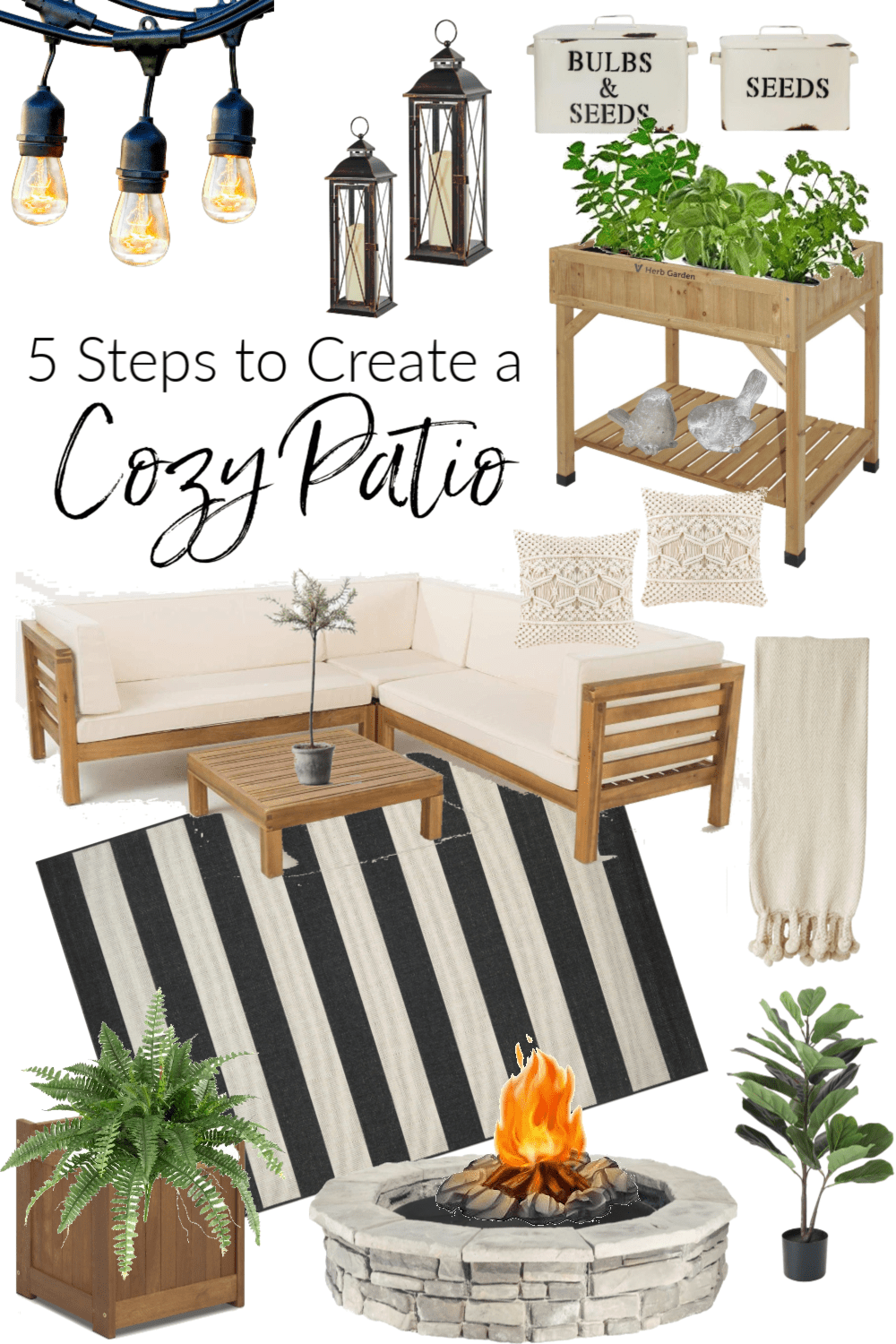 Do you want to create a cozy outdoor space but don't know where to start. I'm sharing how to create a cozy patio by adding 5 simple elements.