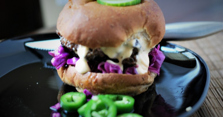 Burgers with Sriracha Lime Mayo and Quick Pickled Red Cabbage