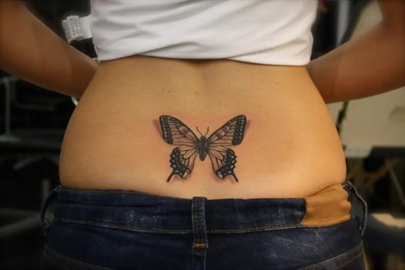 classic butterfly open wings tattoo
