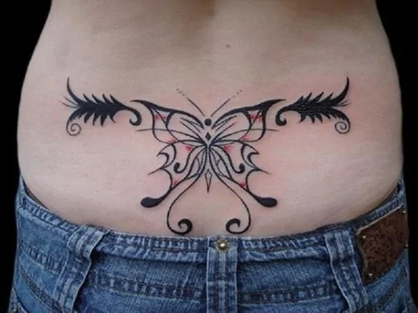 black and red butterfly outline tattoo