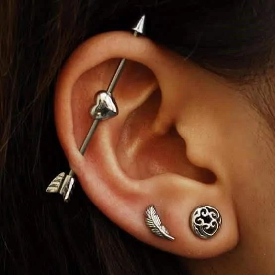 cute heart industrial fake piercing