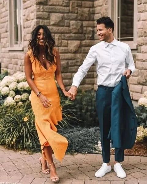 beach wedding orange dress