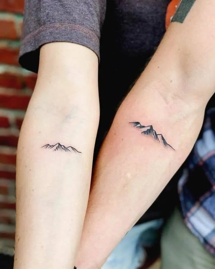 Matching Tattoos For Married Couples mountains