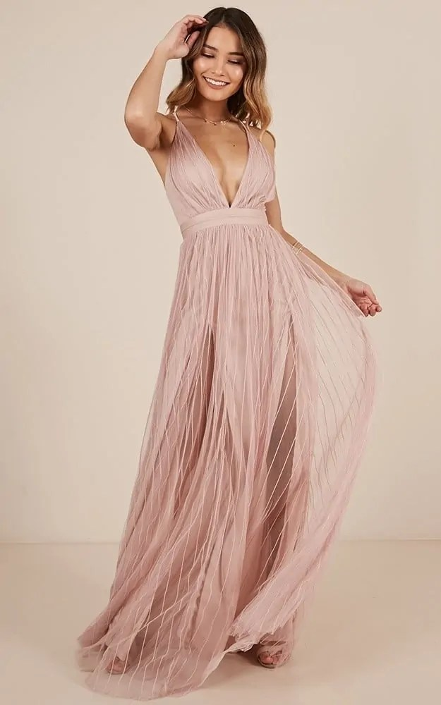 sexy metallic pink beach wedding dress