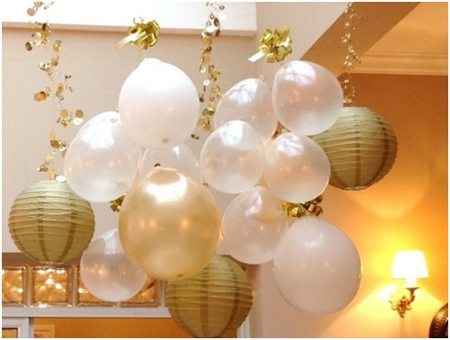 2017 new year decorations Simple new year decoration with balloons and paper lamp shades