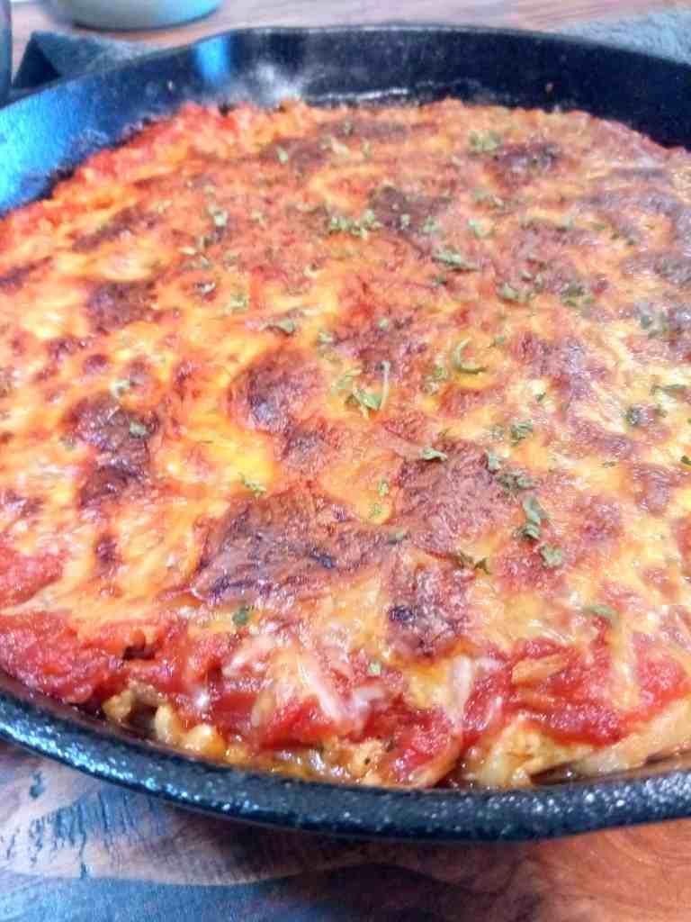 Gluten-Free Spaghetti Pie {in a Cast Iron Skillet}