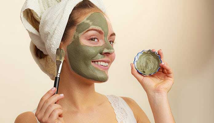 Homemade clay mask for face, hair, and body