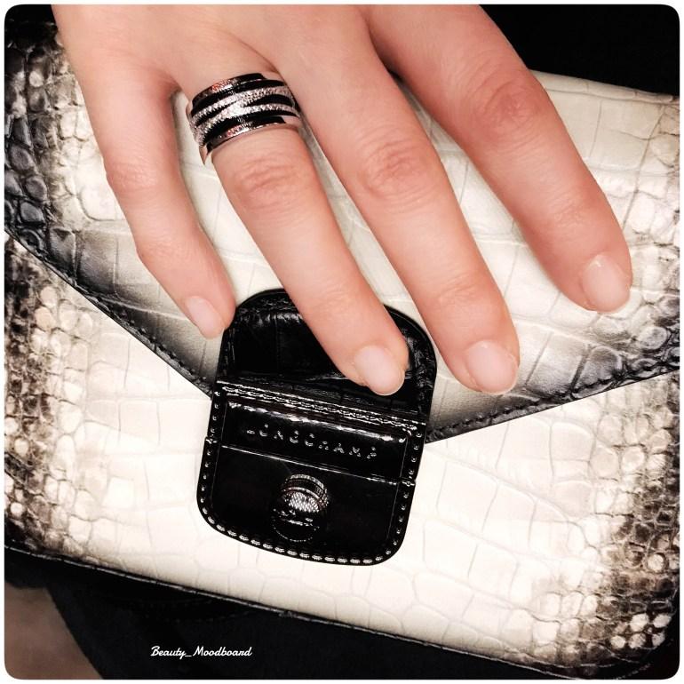 Sac à main Longchamp cuir blanc et noir impression peau reptile
