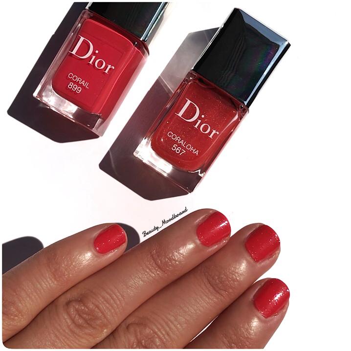 Swatch Dior Coraloha 567 en Top Coat sur le vernis Corail 899