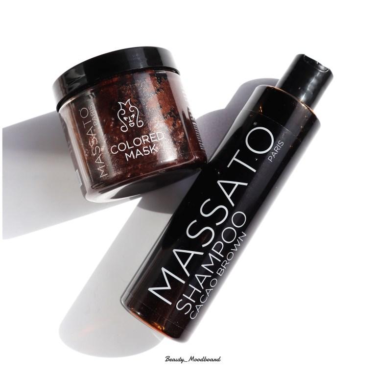 Duo de soins cheveux colorés brun Massato Paris shampoing et masque