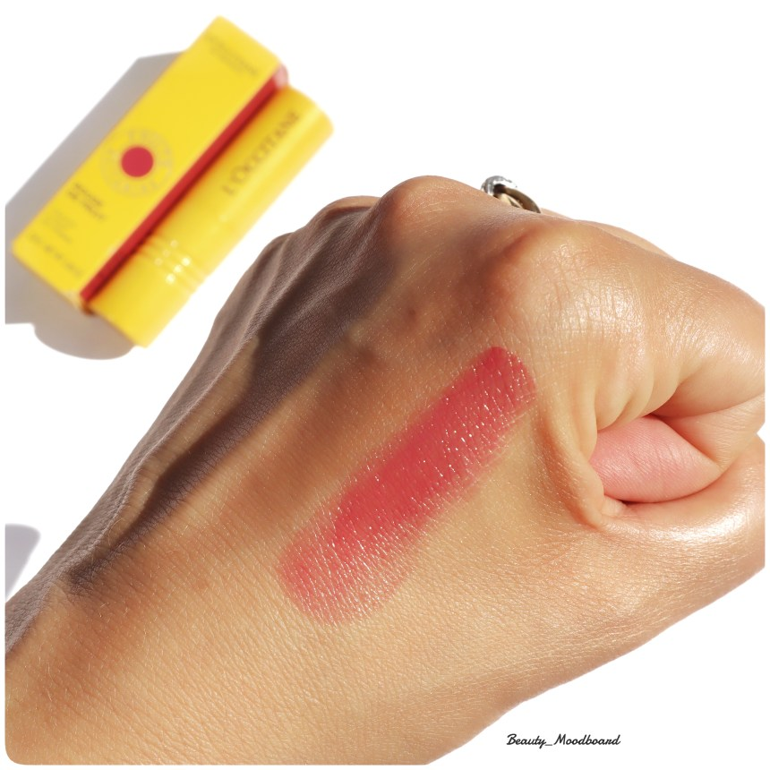 Swatch et avis maquillage L'Occitane Rouge de Fruit Plum Plum Girl
