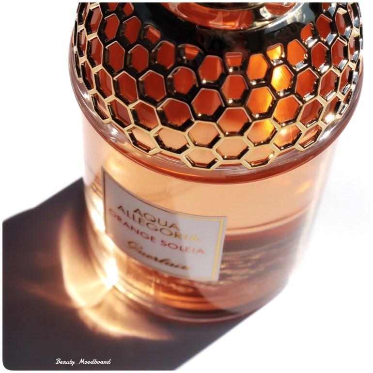 Détail de la résille dorée flacon Guerlain Aqua Allegoria Orange So