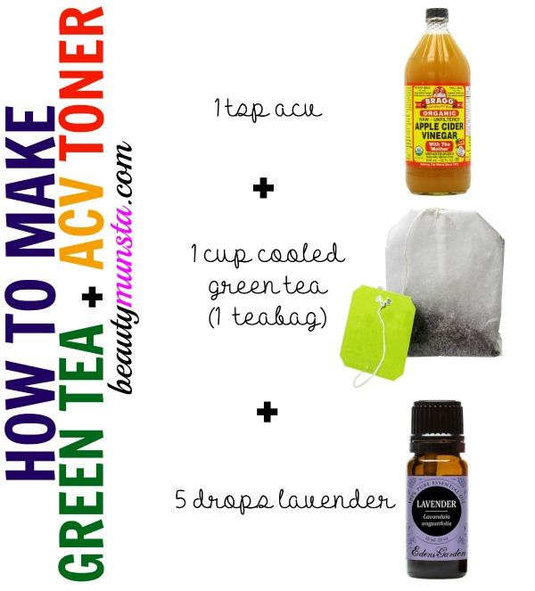 Make your own anti-acne oil-control toner using ACV and green tea! Add 5 drops of lavender for a pleasant scent