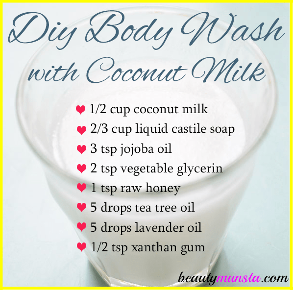 Learn how to make a homemade body wash with coconut milk! It's so moisturizing and luxurious!