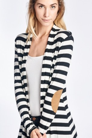Striped Elbow Patch Cardigan in black