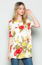 The Floral Dolman tee white