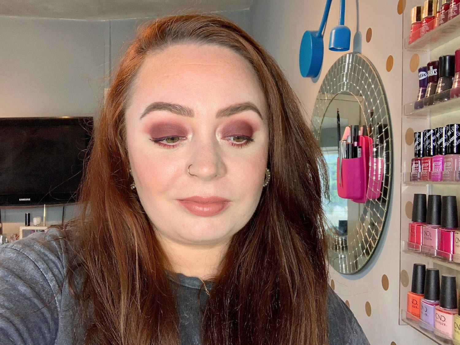 easy burgundy eye look