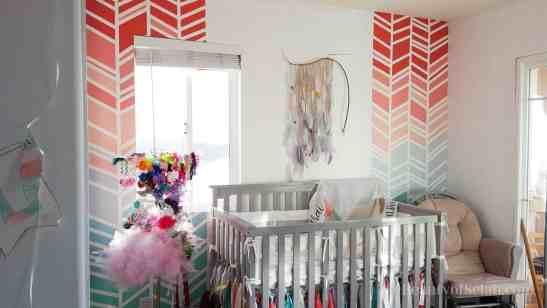 Elegant-Ombre-Herringbone-Nursery main wall herringbone art and crib