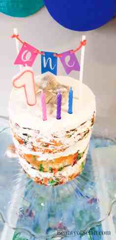 Rainbow Fish Party Cake with Candles