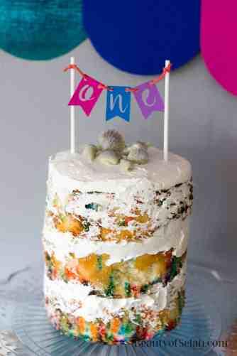 Rainbow Fish Party Naked Cake
