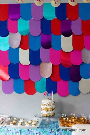 Rainbow Fish Party Scale Wall and Cake