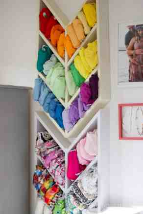 Elegant-Ombre-Herringbone-Nursery custome herringbone diaper shelves