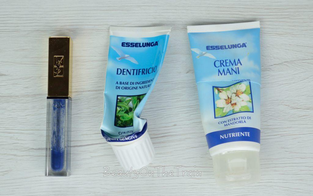 prodotti finiti di novembre mascara, crema mani e dentifricio