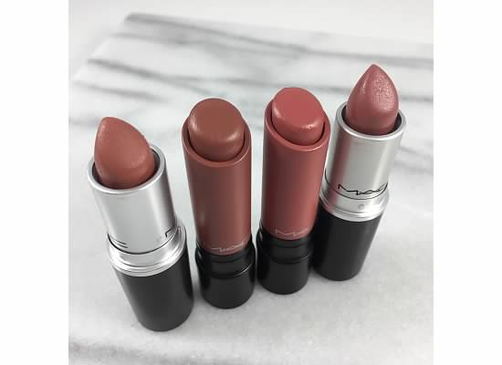 MAC NUDE LIPSTICK - MAC HONEYLOVE - MAC MYTH - MAC BLANKETY - MAC DRIFTWOOD- MAC STRIP ME DOWN- MAC SPIRIT - MAC SMOKED ALMOND - MAC TOAST AND BUTTER --