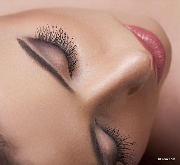 Eye with long eyelashes. High quality image.
