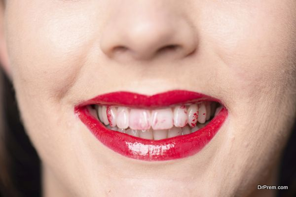close up mouth and teeth with lipstick