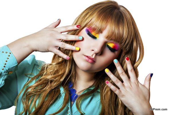 Colorfull rainbow make-up on woman eyes