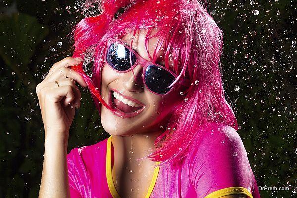 Happy Party Girl. Water Splash