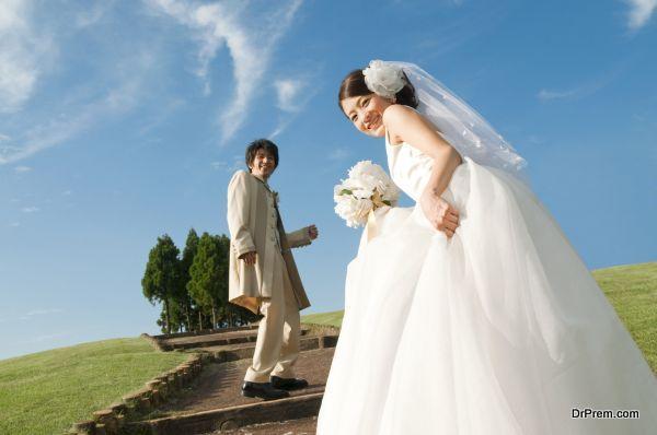 Bride and bridegroom smiling