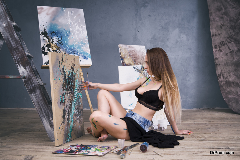 woman busy with passion project