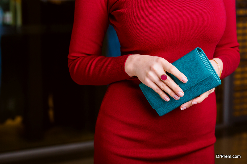 fashionable woman holding wallet.