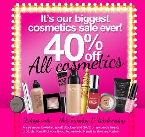 Priceline 40% off all cosmetics