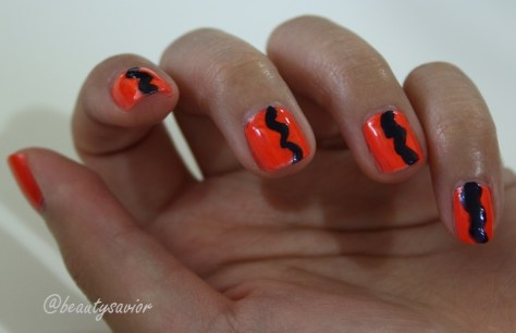 Neon orange, blue stripe