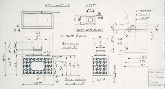 Il bozzetto del nuovo packaging del 1950