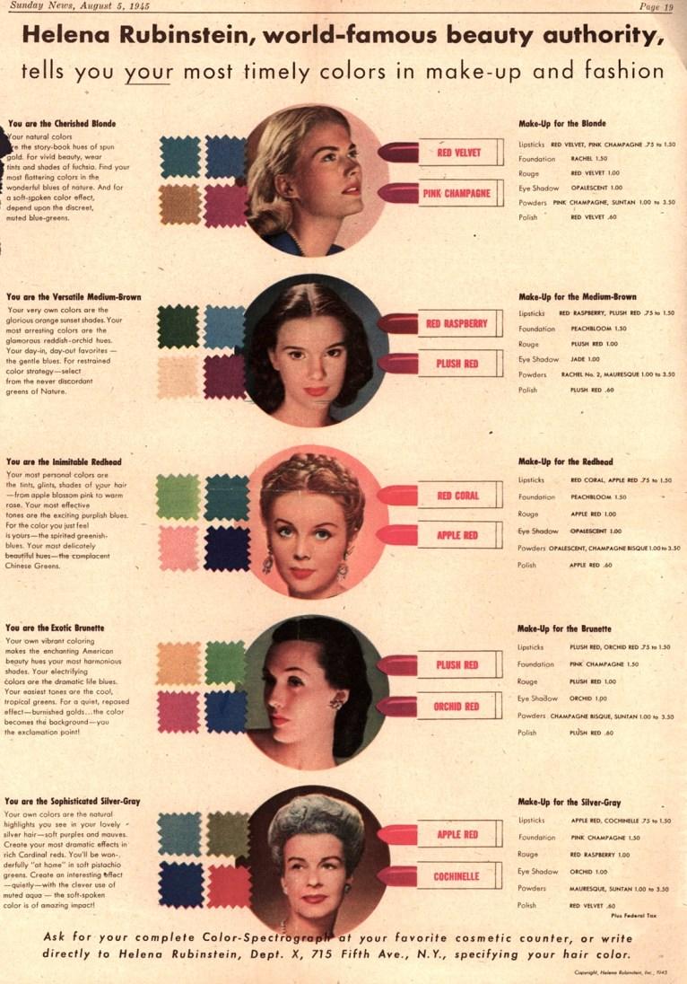 Helena Rubinstein Color Chart