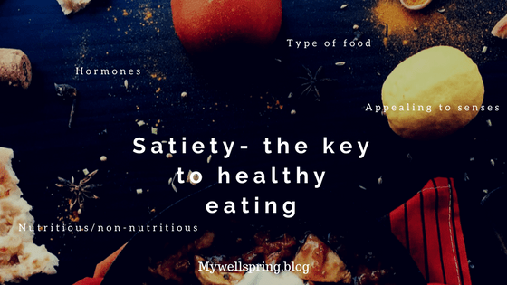 Satiety is the feeling of fullness after having a meal that helps you from stop eating further. It does appear as something so trivial but it has a lot of science related to hormones, type of food, sensory perceptions all working together behind the scenes.