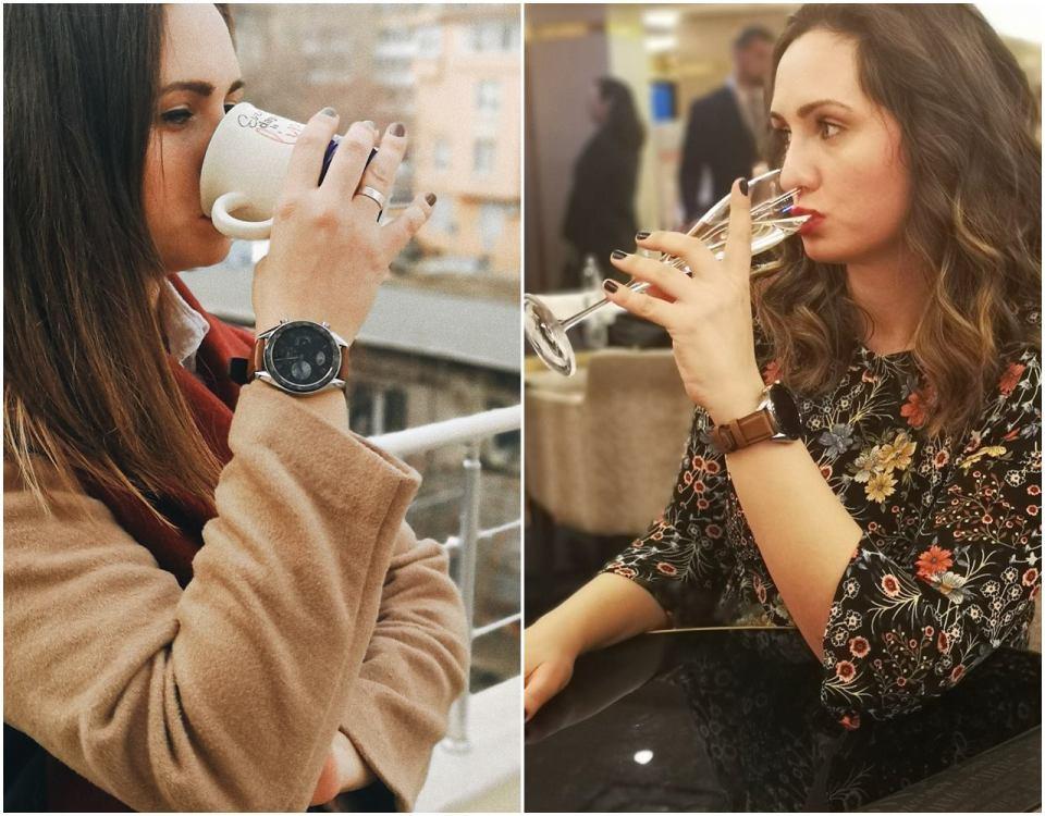 Колаж от две снимки на жена, на едната пие кафе, а на другата шампанско, на ръката й има Huawe Watch GT.