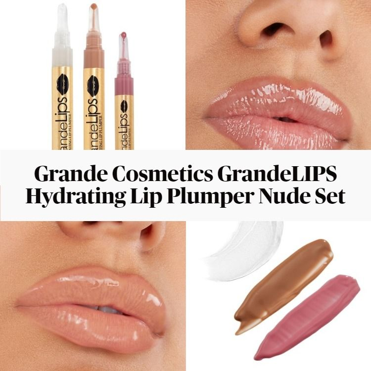 New! Grande Cosmetics GrandeLIPS Hydrating Lip Plumper Nude Set