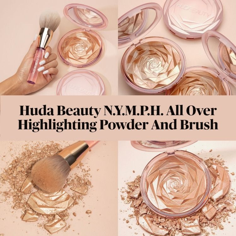 New! Huda Beauty N.Y.M.P.H. All Over Highlighting Powder And Brush